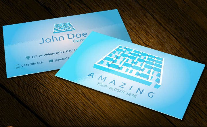 blue amazing business card and logo template