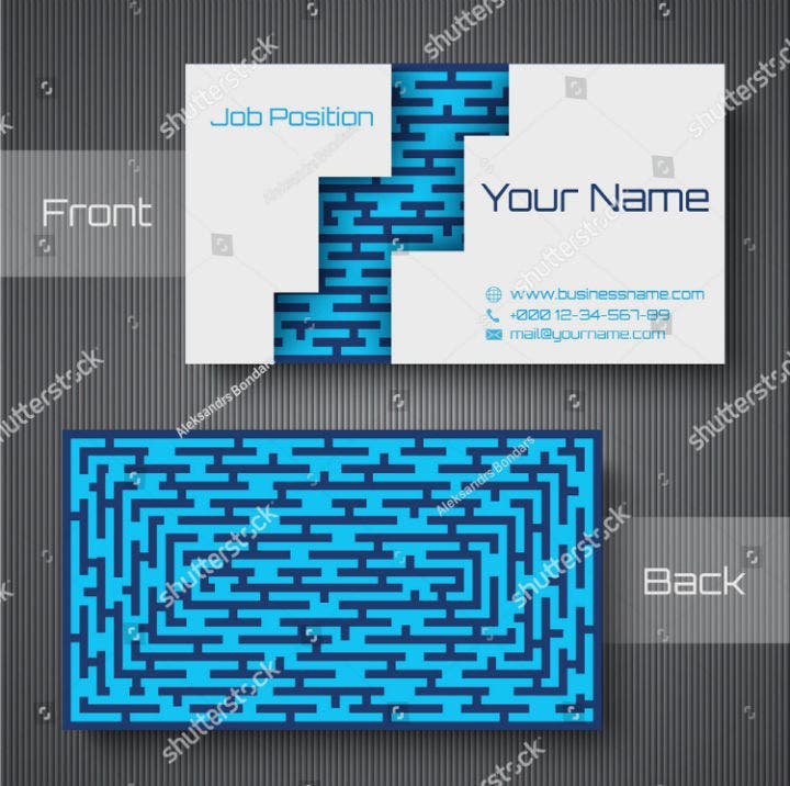 blue white maze business card template
