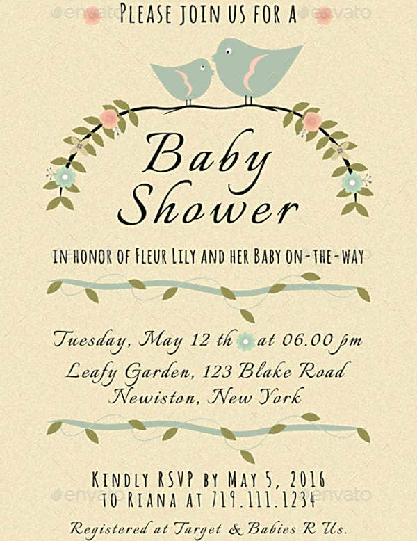 Bohemian Style Baby Shower Invitation Template