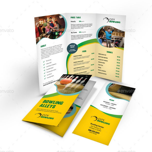 Bowling Alley Trifold Brochure Template