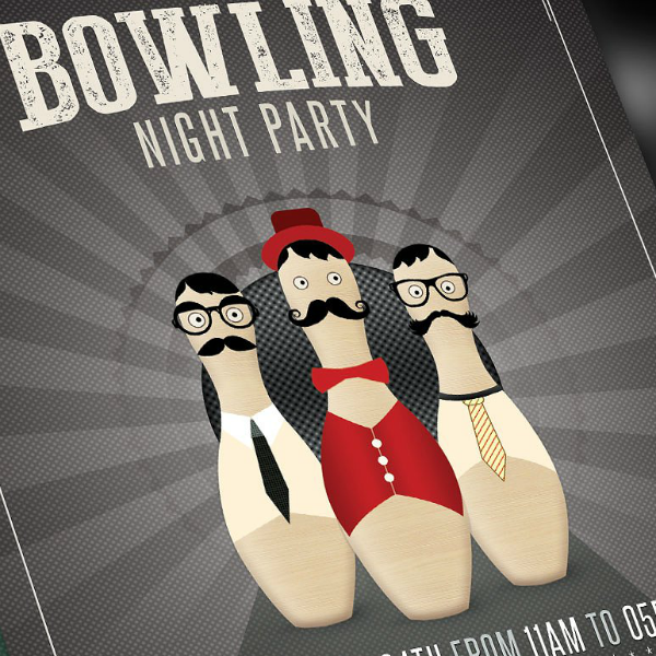 Bowling Night Party Flyer Invitation Template
