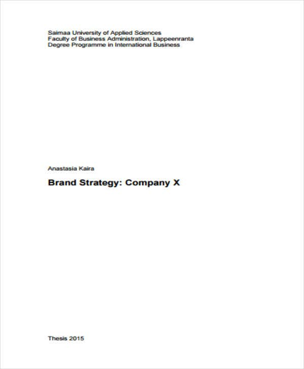 Brand Strategy Sample Format