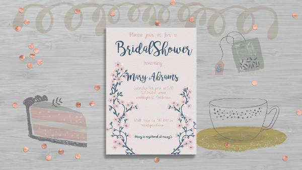 bridal shower floral card design