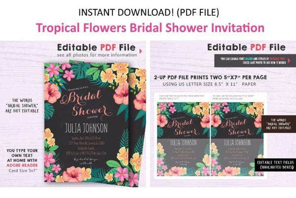 Bridal Shower Luau Party Invitation Template