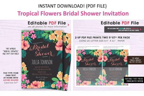 bridal shower luau party invitation template