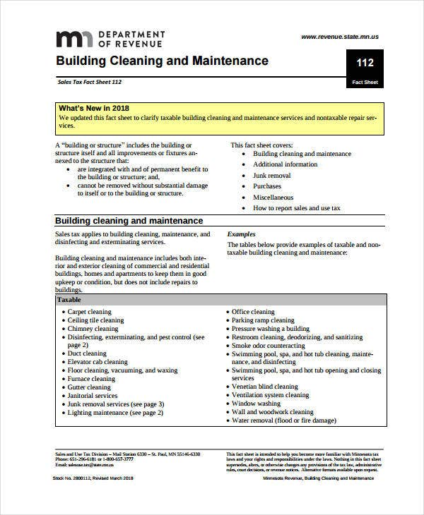 building cleaning and maintanace contract