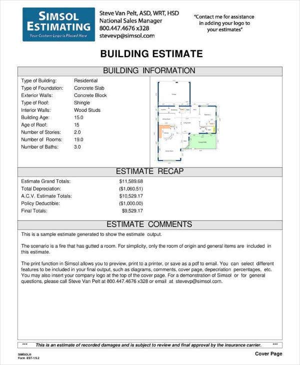 Building Estimate Example