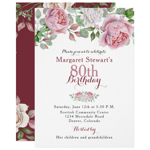 burgundy-pink-country-rose-80th-birthday-invite