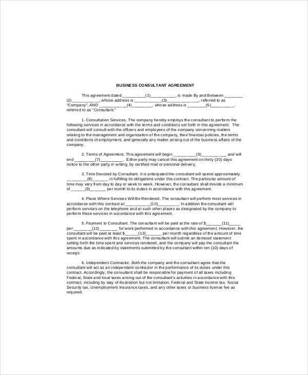 Business Consultant Agreement Sample