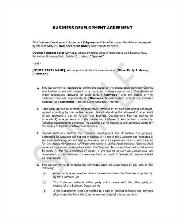 10 small business contract templates pdf doc free premium business development contract template wajeb Image collections