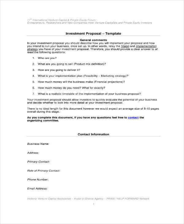 business investment proposal example