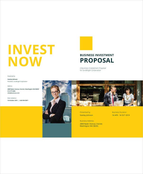 9 small business investment proposal templates pdf free