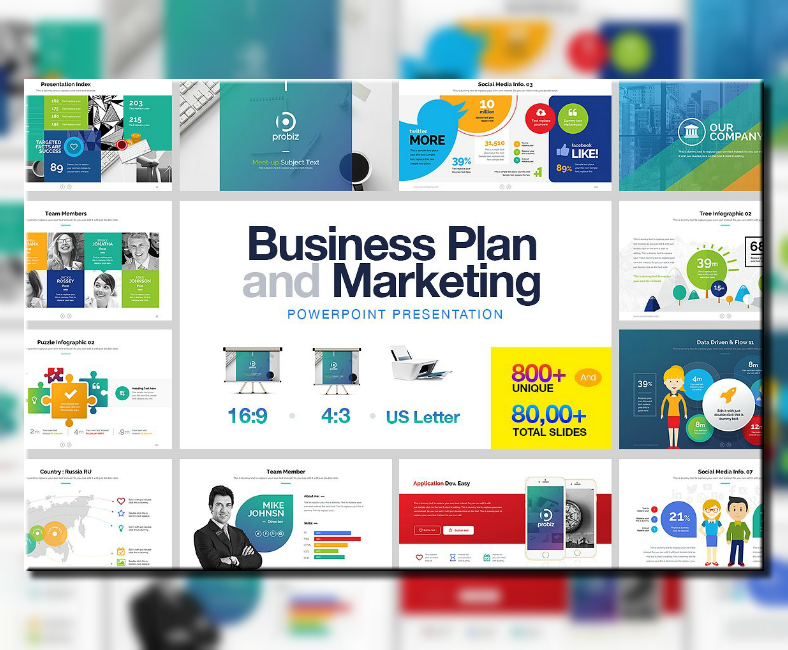 business plan marketing powerpoint template 788x650