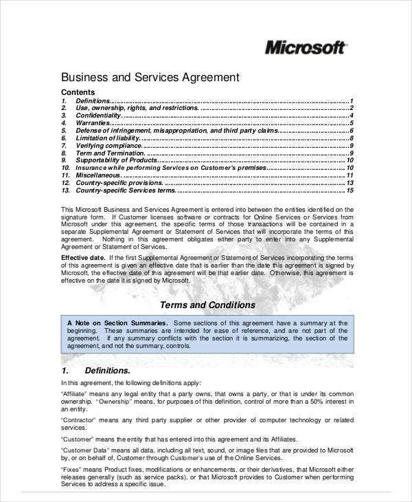 business and services agreement
