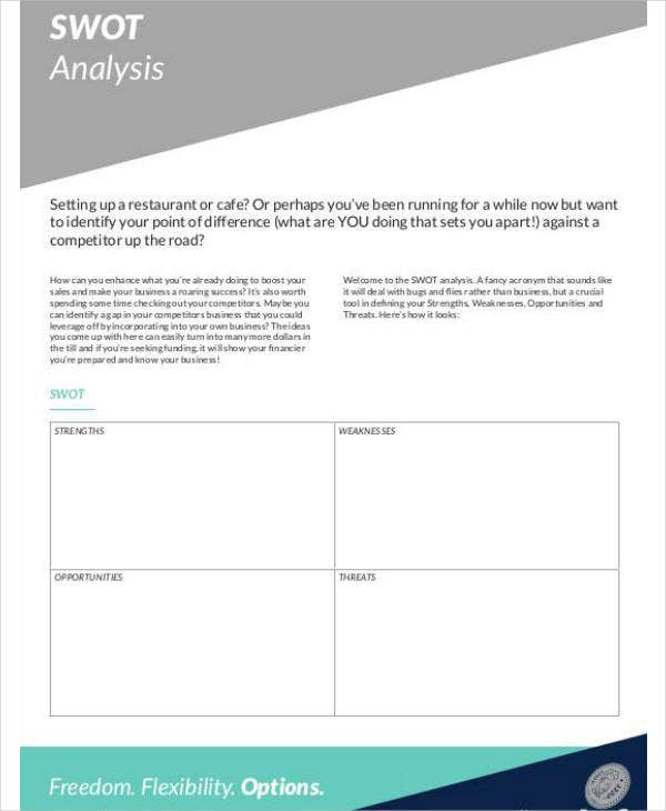 cafe and restaurant swot analysis template1