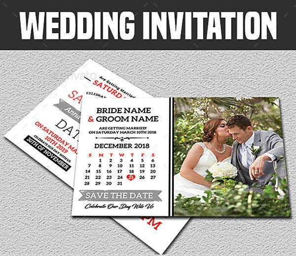 Calendar Style Wedding Invitation Template