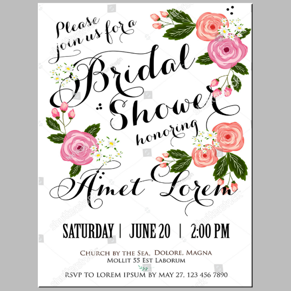 Calligraphic Modern Bridal Shower Card Template