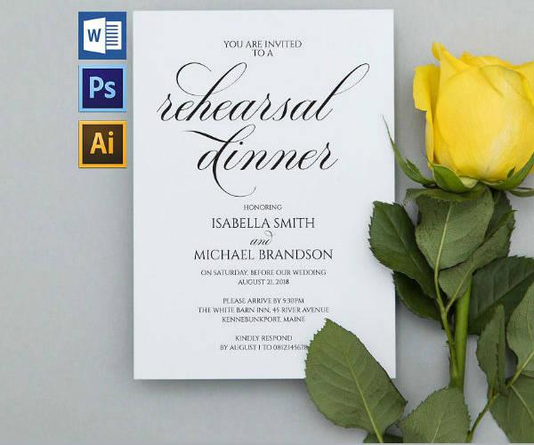 Calligraphy Wedding Rehearsal Dinner Invitation