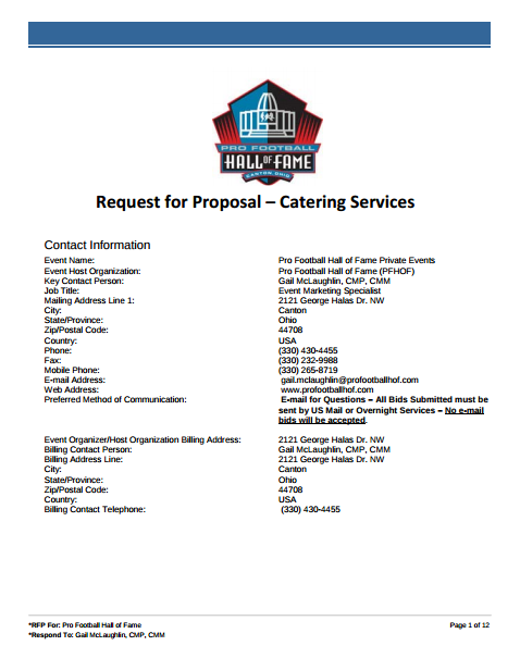 catering service request for proposal