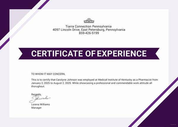 17  experience certificate templates