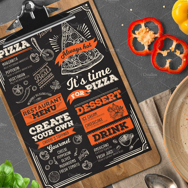 Chalk Pizza Printable Menu Card Template