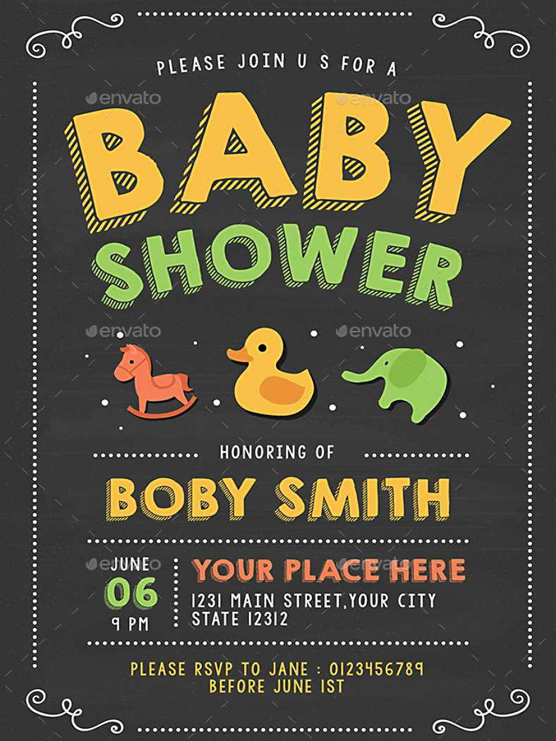 Chalk Themed Baby Shower Invitation Template