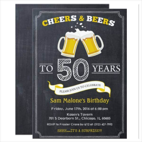 Chalkboard 50th Birthday Invitation Card