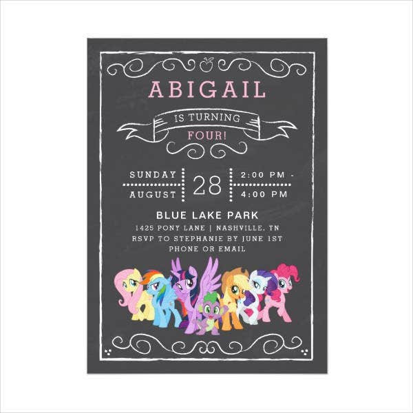 Chalkboard Animal Birthday Crad Design