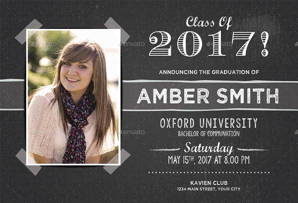 Chalkboard College Graduation Invitation