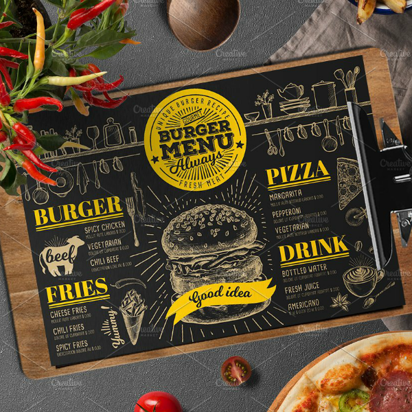 Chalkboard Fastfood Printable Menu Card Template