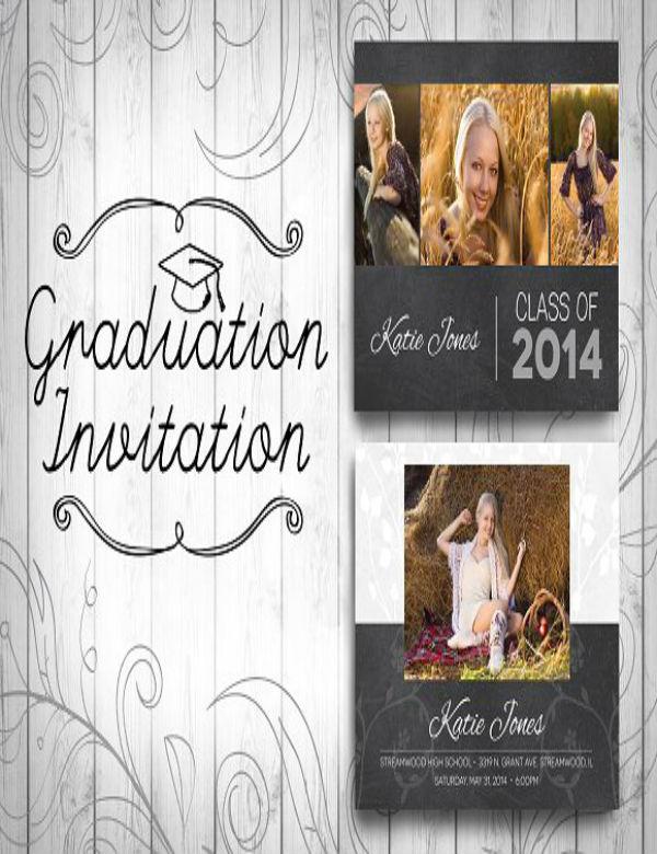 chalkboard graduation invitation