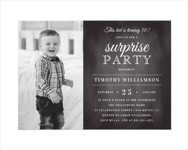 Chalkboard Photo Birthday Card Design