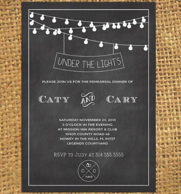 Chalkboard Wedding Rehearsal Dinner Invitation Design
