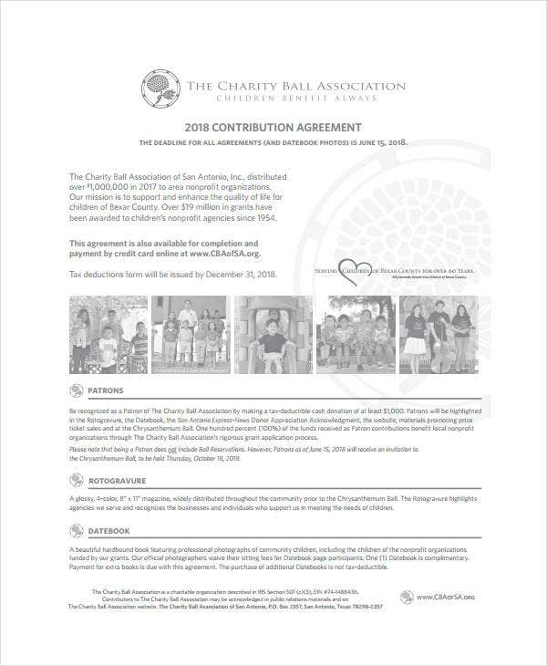 Charity Association Contribution Agreement