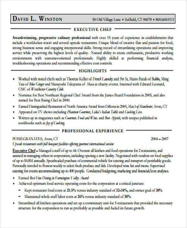 Chef Executive CV Sample