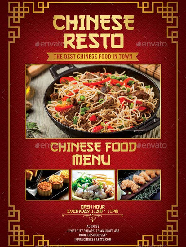 Chinese Food Menu Example