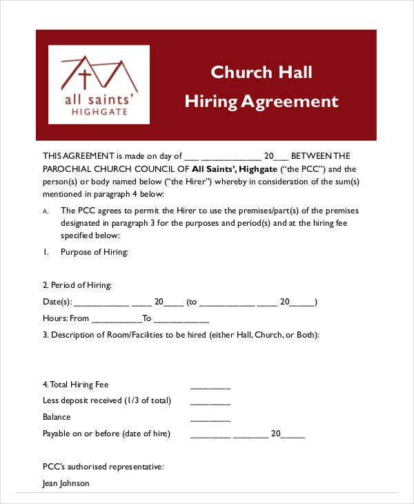 church hall hiring agreement