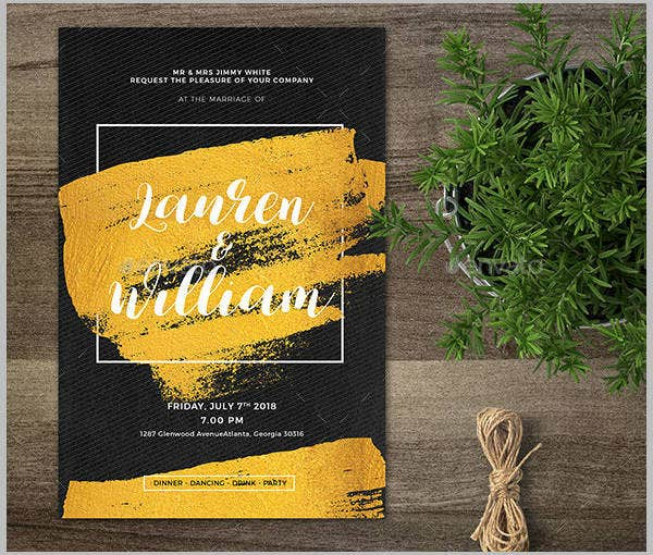 Classic Gold Wedding Invitation Template