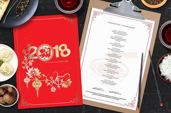 classy chinese menu template