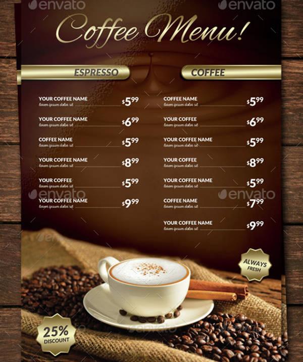 Classy Coffee Shop Menu Template