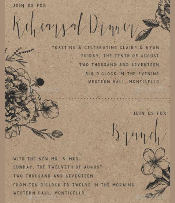 Classy Floral Wedding Rehearsal Dinner Invitation