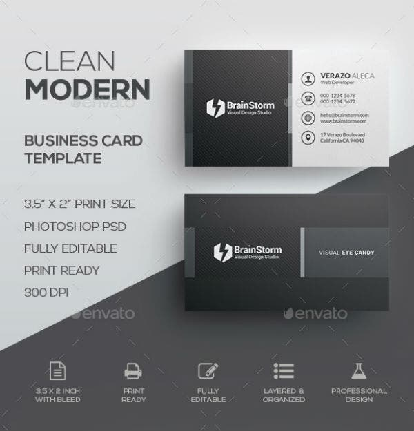 Clean Black Business Card Template