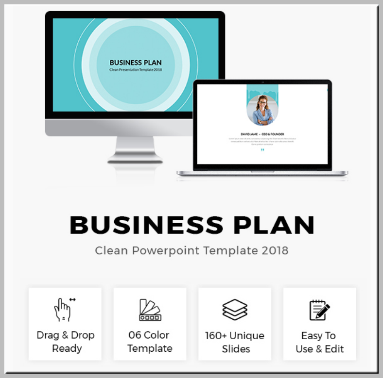 clean business plan powerpoint presentation 788x779