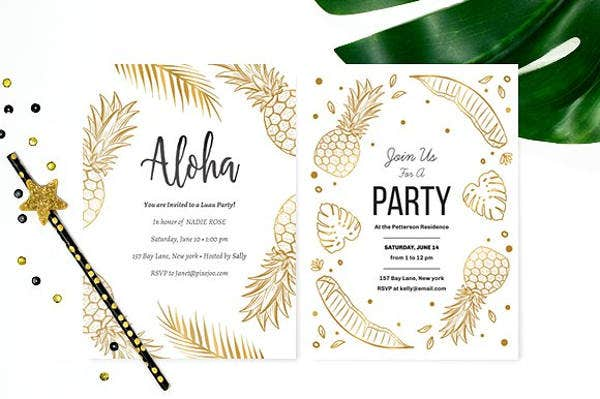 Clean Luau Party Invitation Template