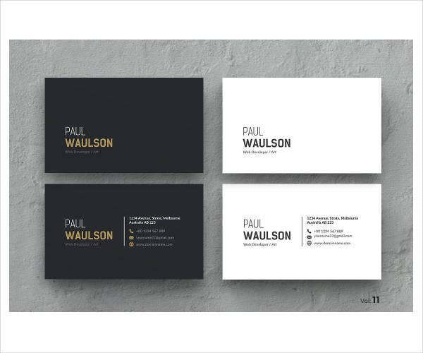 clean modern corporate business card example