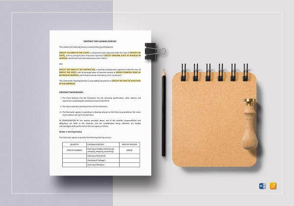 cleaning company services contract template