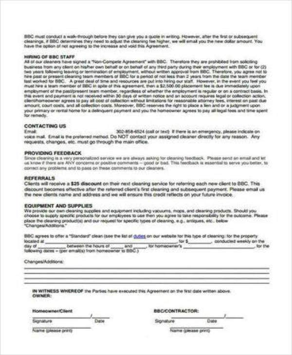 cleaning contract agreement contract