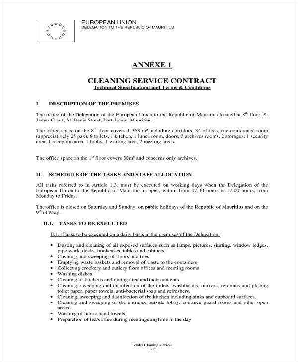 17 Cleaning Services Contract Templates Pages Docs Word