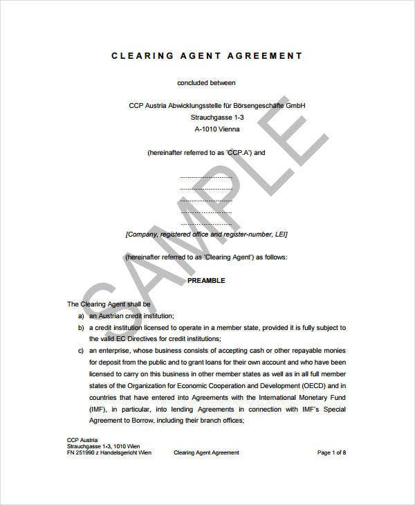 clearing agent agreement