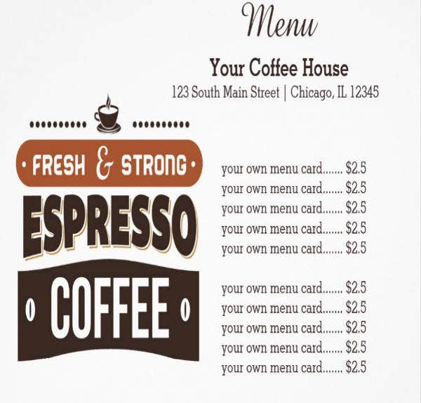Coffee House Menu Card Design